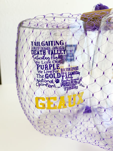 Purple and Gold Shatterproof Wine Glasses- Set of Four