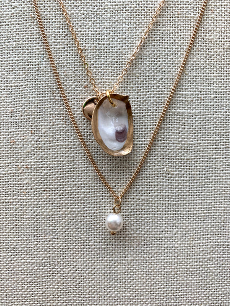 Dainty Oyster Necklace - 318 Art and Garden