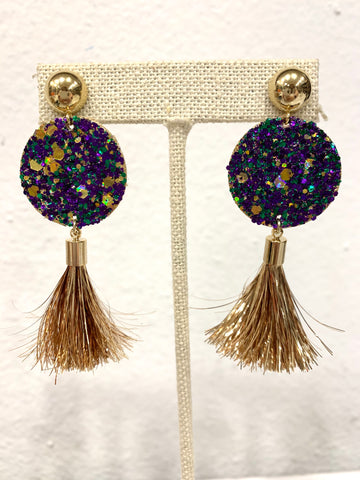 Mardi Gras Disc with Gold Tassel Earrings - 318 Art and Garden