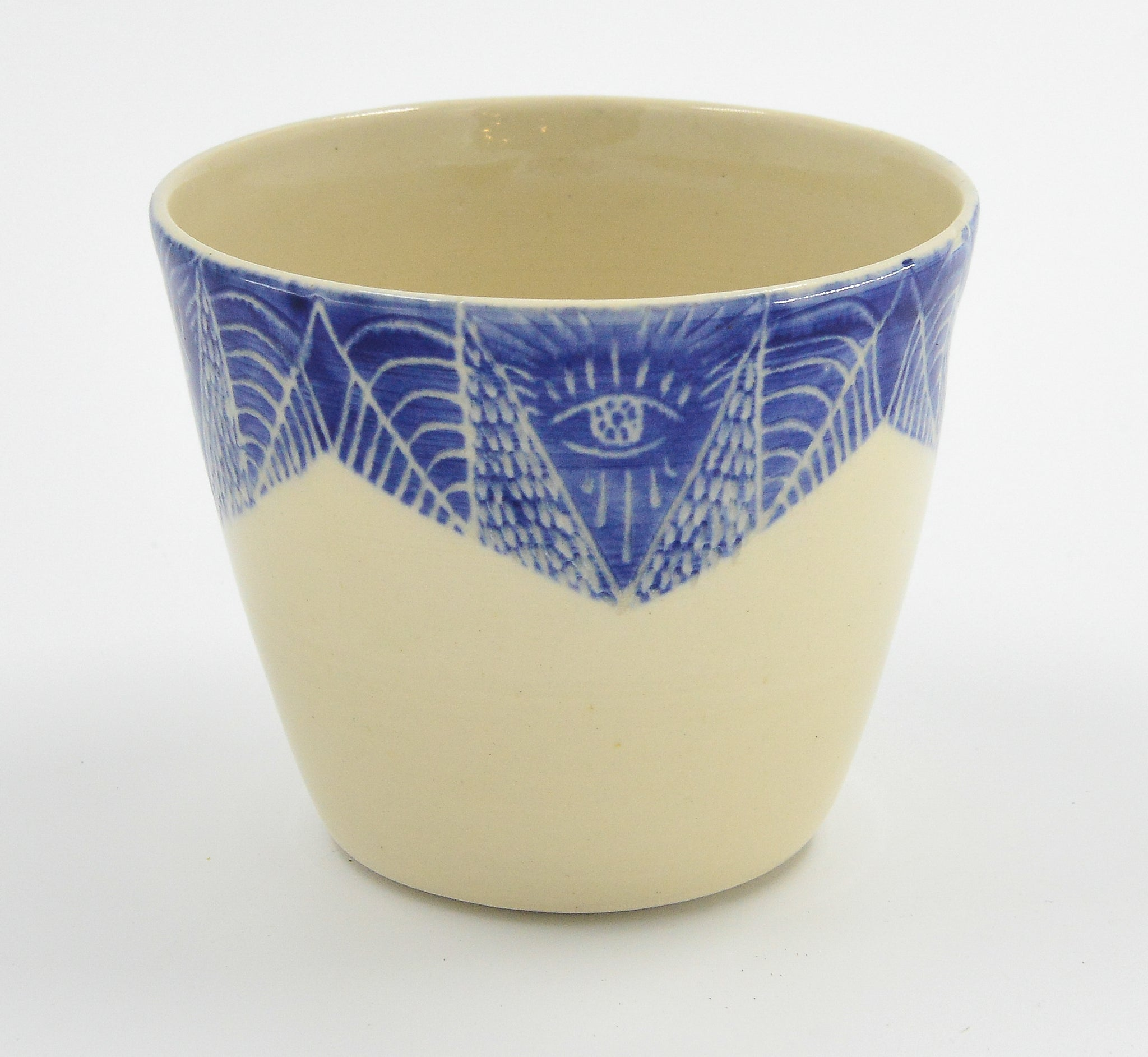 Hand Etched Ceramic Planter-Blue - 318 Art and Garden