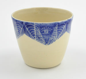 Hand Etched Ceramic Planter-Blue