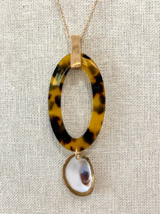 Oval Tortoise and Shell Pendant Necklace
