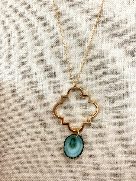 Long Quatrefoil Statement Necklace