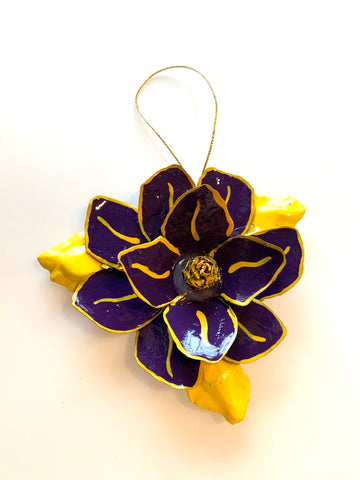 Purple and Gold Magnolia Ornament - 318 Art and Garden