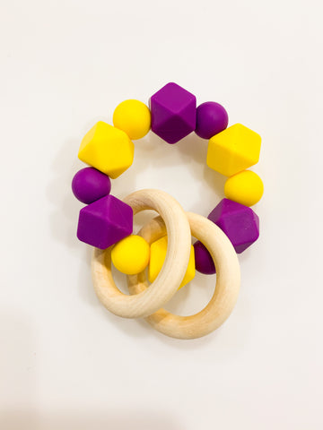 Purple and Gold Gameday Teether