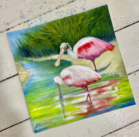 """Roseate Spoonbills Foraging in the Shallows"" Giclee Print by Carla Davis"