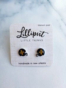 Tiny Fleur de Lis Helmet Earrings
