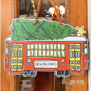 Red Christmas Streetcar Door Hanger - 318 Art and Garden