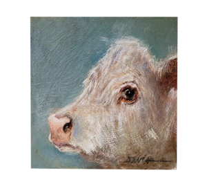 """Wondering Eye"" Cow 4x4 Acrylic on Board - 318 Art and Garden"