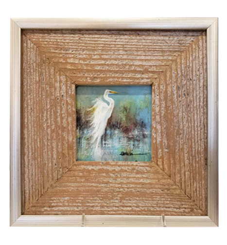 """Harmony Egret"" 4X4 Acrylic on Board with Barn Wood Frame - 318 Art and Garden"