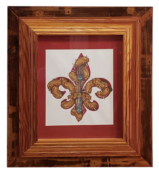 Red Beans & Rice Fleur De Lis Watercolor Framed 31 X 26 1/2 - 318 Art and Garden