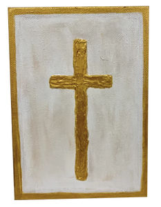"""Gold Cross"" 5X7 - 318 Art and Garden"