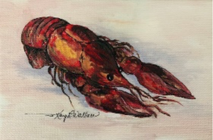 """Crawfish at Rest"" Original Mini Painting 3x5 - 318 Art and Garden"