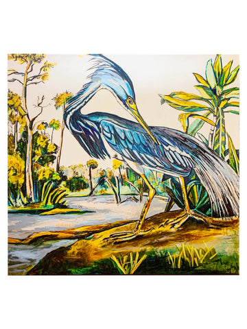 """Square LA Blue Heron"" Reproduction 36X36"