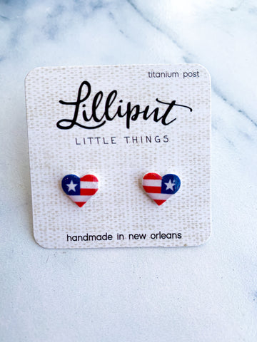 Tiny USA Heart Earrings