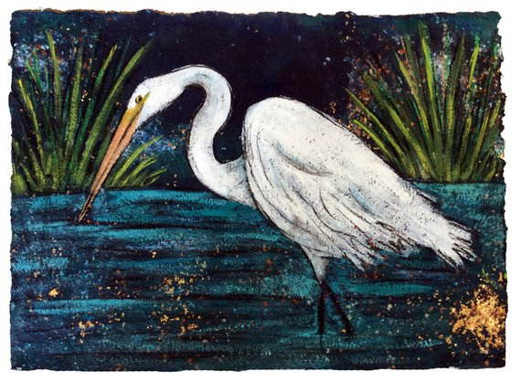 """Fishing Egret"" 16X20 Matted Print - 318 Art and Garden"