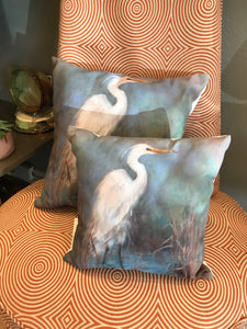 """The Great White Egret"" Pillow - 318 Art and Garden"
