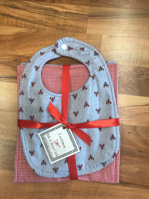 Crawfish/Crab Chambray Bib and Burp Cloth Set