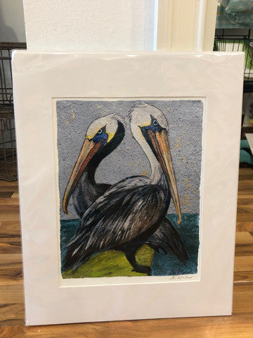 """Pelican Pair"" 16x20 Matted Print - 318 Art and Garden"