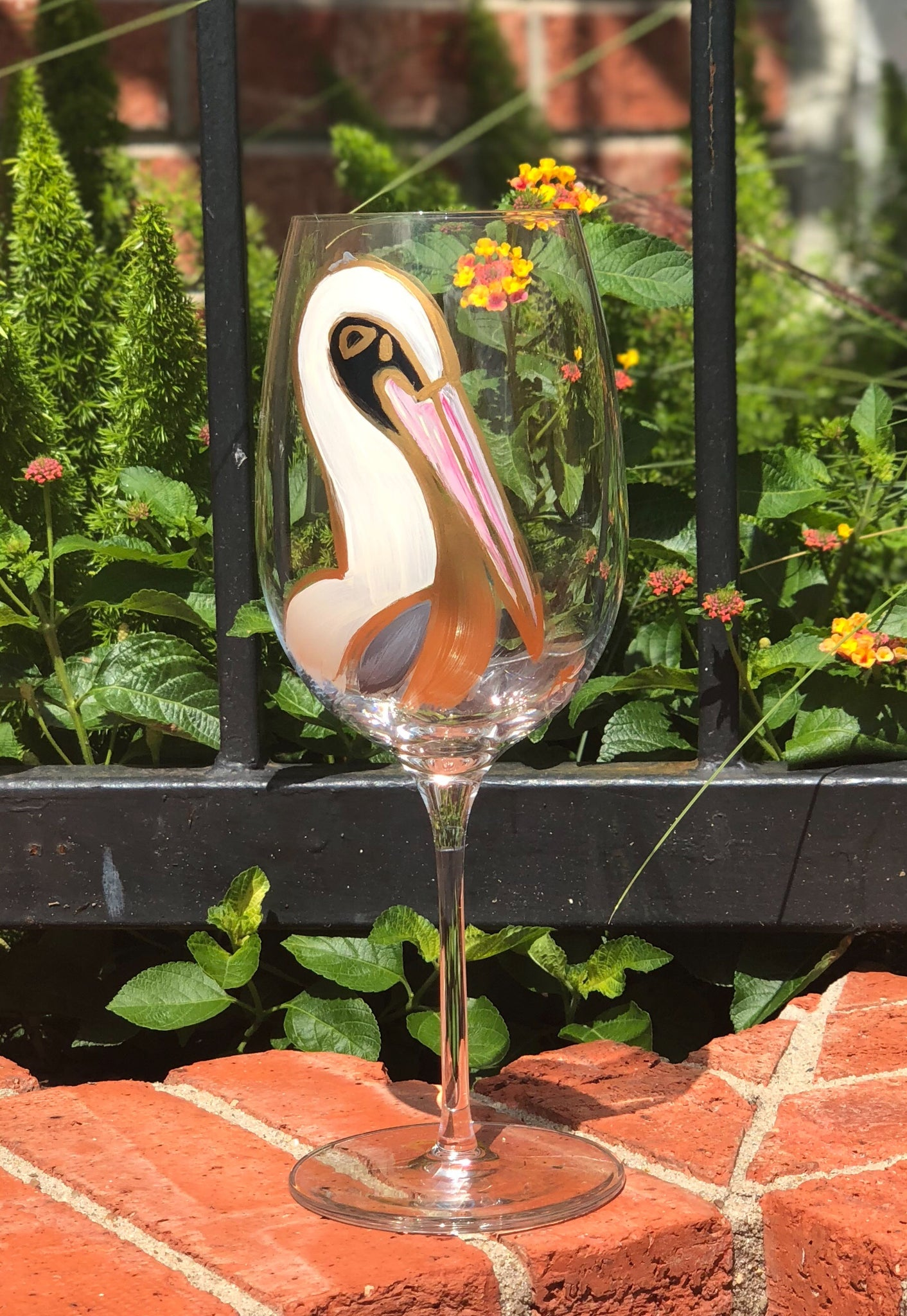 Fall Pelican Stemmed Wine Glasses - 318 Art and Garden