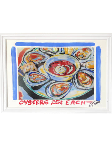 """Oysters 25 Cents"" Framed Print"