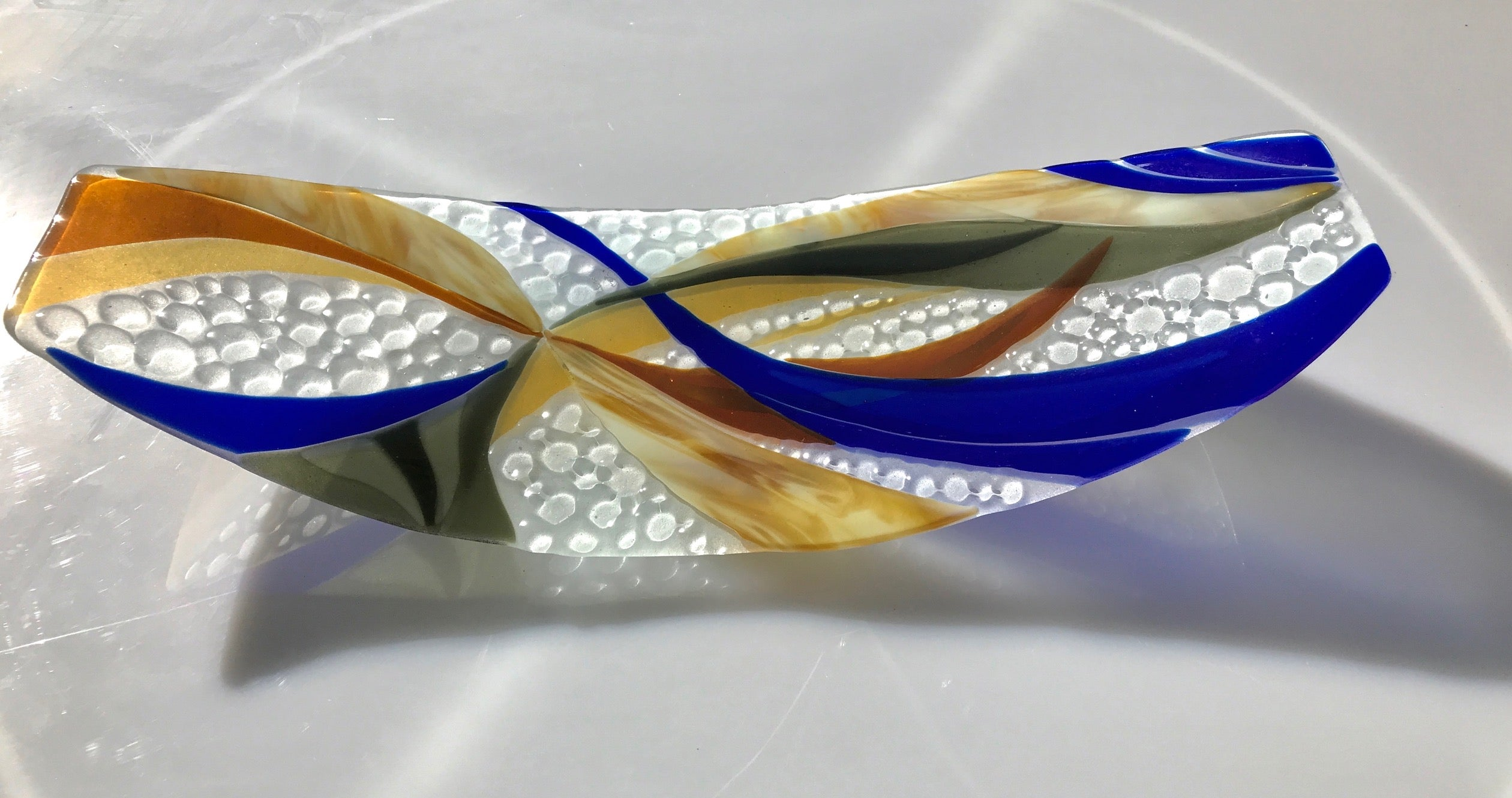 """Toffee/Cobalt Fused Sculptured Glass"" Bonnie Rubinstein"