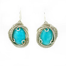 Amazonite Wire Wrapped Silver Earrings