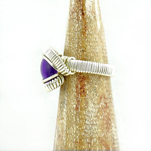 Amethyst Wire Wrapped Silver Ring