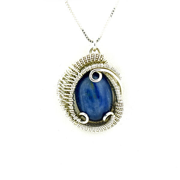 Kyanite Wire Wrapped Silver Mini Pendant