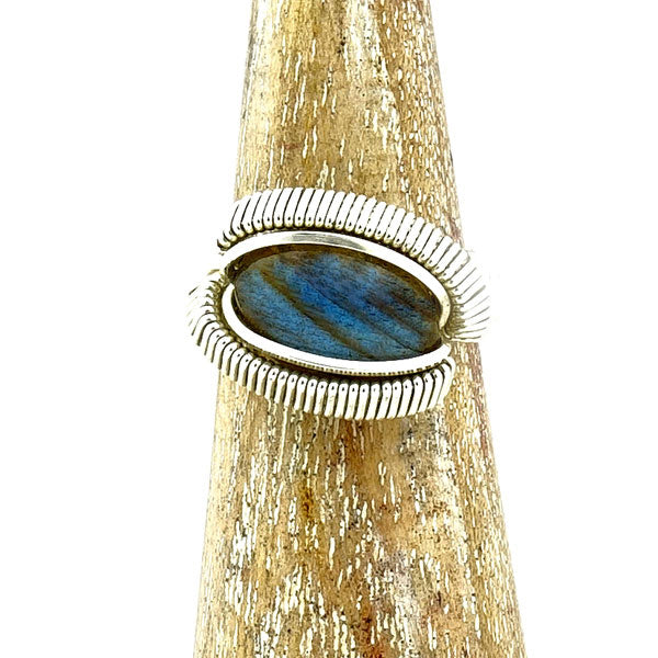 Labradorite Wire Wrapped Silver Ring