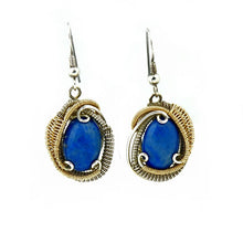 Lapis Wire Wrapped Silver Earrings