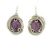 Lepidolite Wire Wrapped Silver Earrings