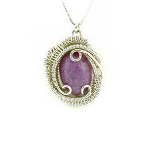Lepidolite Wire Wrapped Silver Mini Pendant