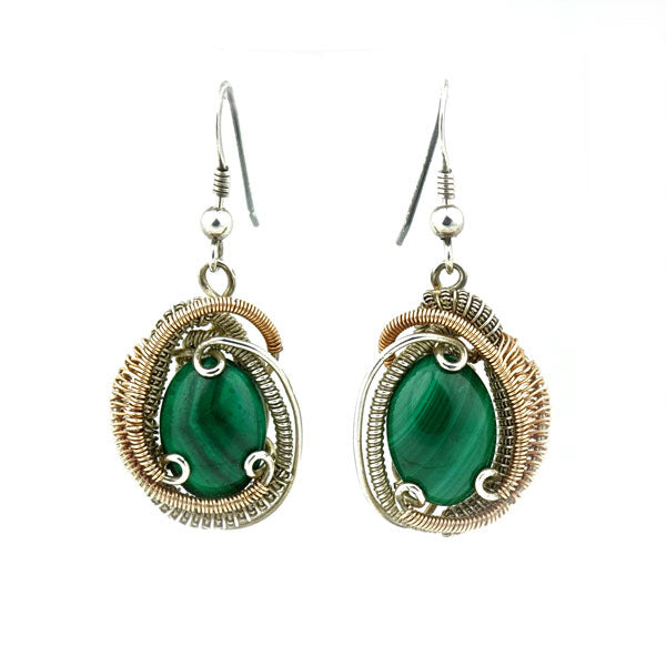 Boho Wedding, Triskelion Earrings Yoga Jewelry Festival Fashion Malachite Earrings Wire Wrapped in Silver and Rose Gold