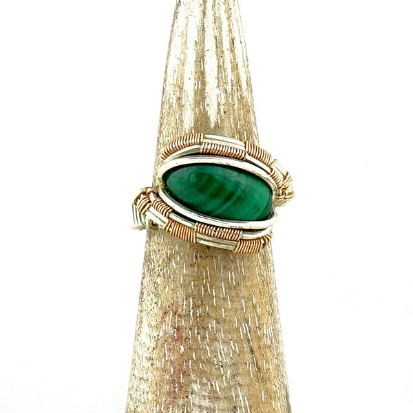 Malachite Wire Wrapped Silver and Rose Gold Ring