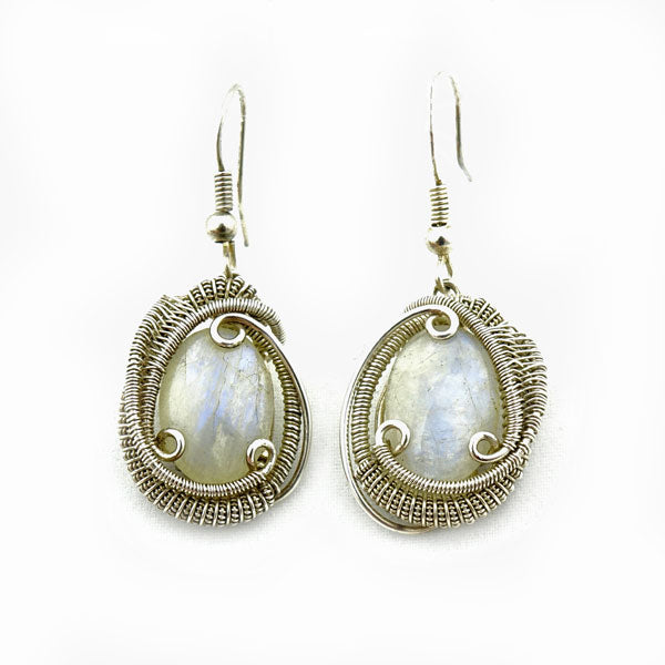 Moonstone Wire Wrapped Silver Earrings