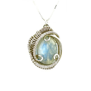 Moonstone Wire Wrapped Silver Mini Pendant