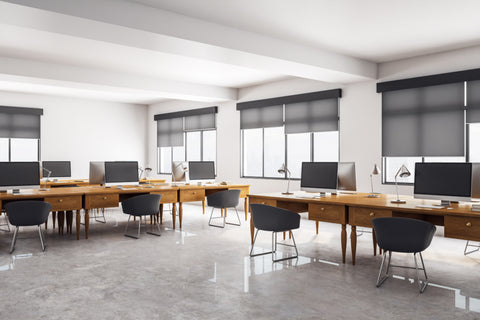 Black Roller  solar shades for open space office