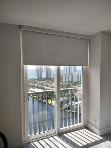 blackout shades in room with city view