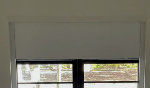 Blackout shades with valance and fascia