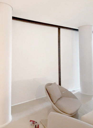 White Blackout blinds with lateral side channel