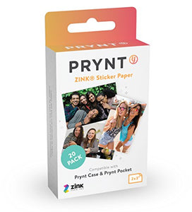 "Prynt 2x3"" Zink Sticker Paperfor The Prynt Pocket  - 20 Pack - White"