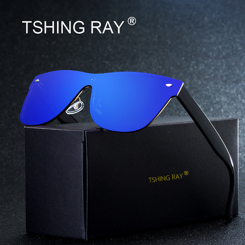 f55561bf087 TSHING RAY Fashion Rimless Square Driving Sunglasses Men Women Italy Brand  Designer Oversized Celebrity Mirror Sun ...