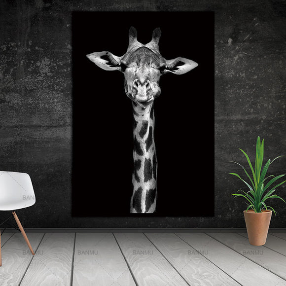 Modern black white giraffe canvas print wall art