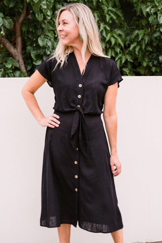 Scarlett Dress - Black Linen