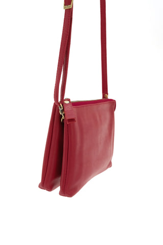 Ella Crossbody Leather Bag - Red