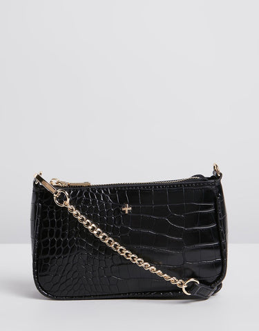 Peta and Jain Madrid Black Croc Bag