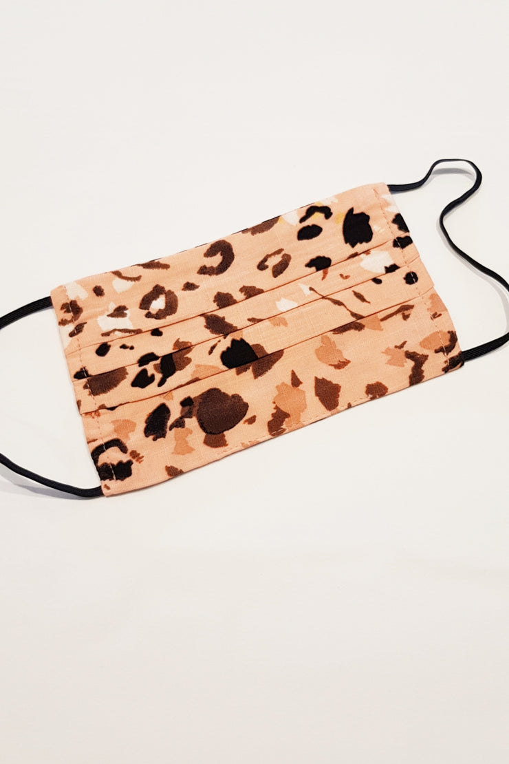 Pleated Face Mask - Leopard