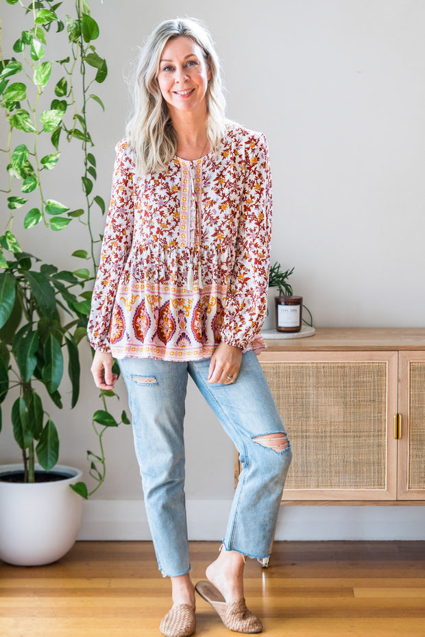 Byron Top - Wine Floral