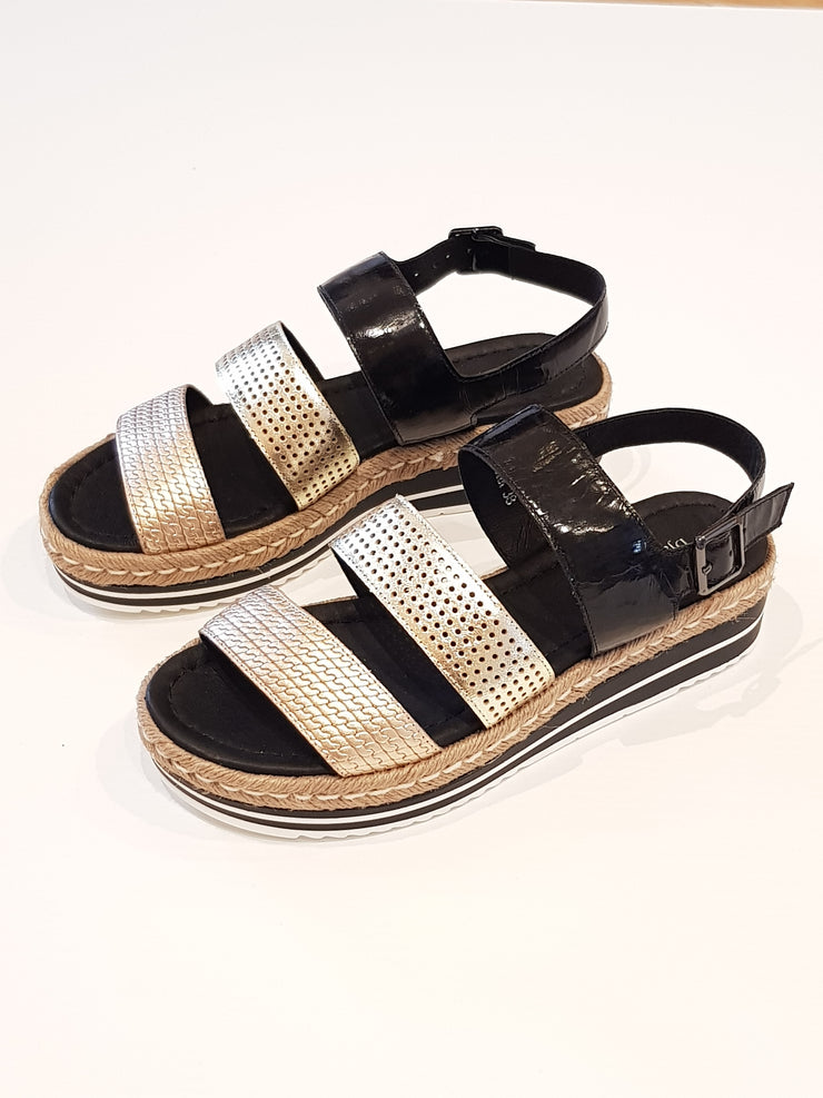 Akidna Sandal - Black Gold Multi | Mabel and Woods | Women's Fashion